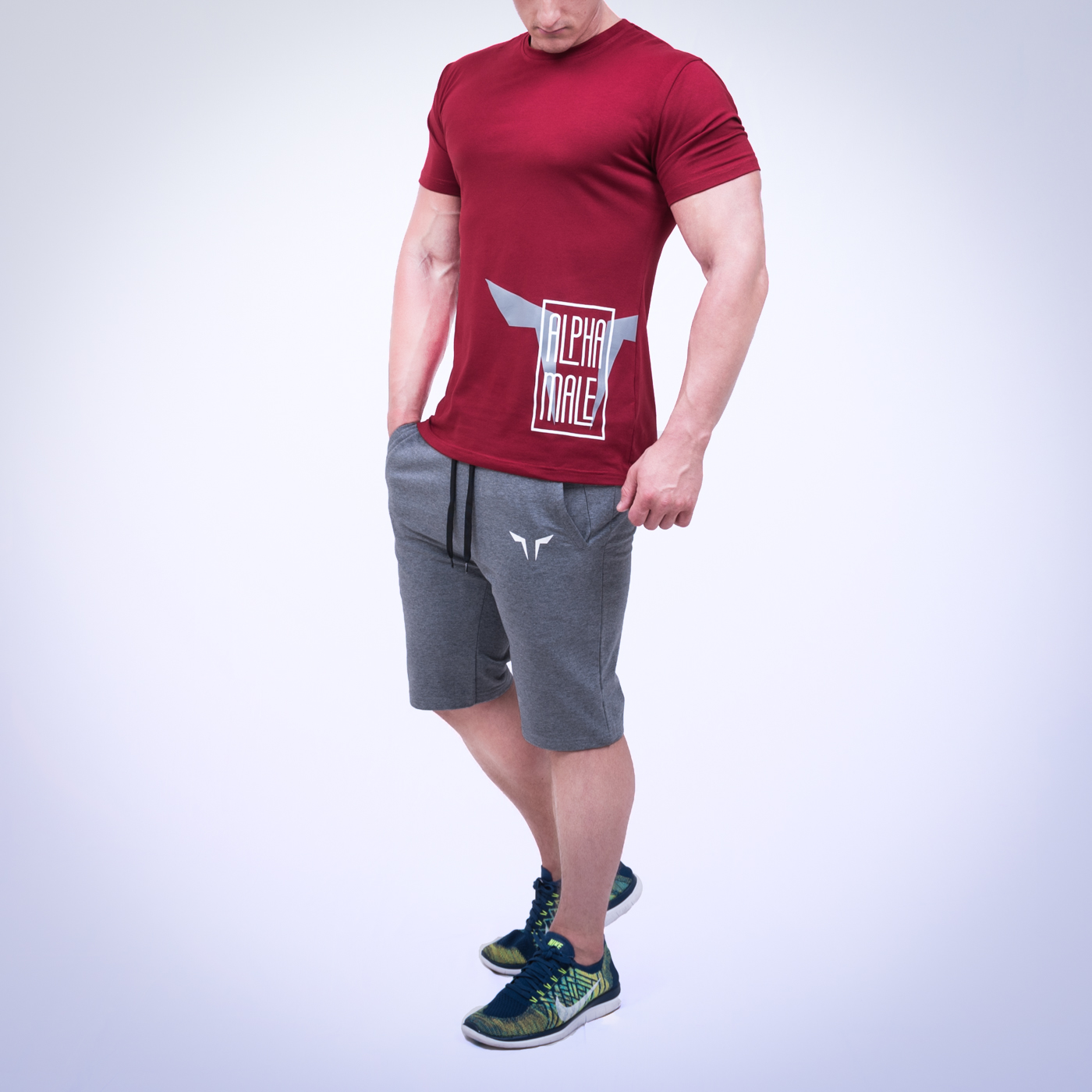 Dominate your space with red alpha gym tee by squat wolf for Gym shirt t shirt