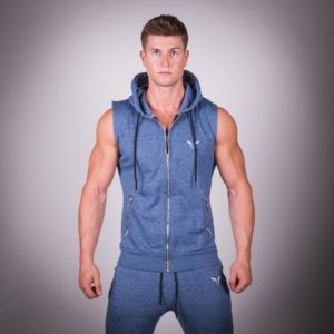 Ribbed Sleeveless Hoodie Blue