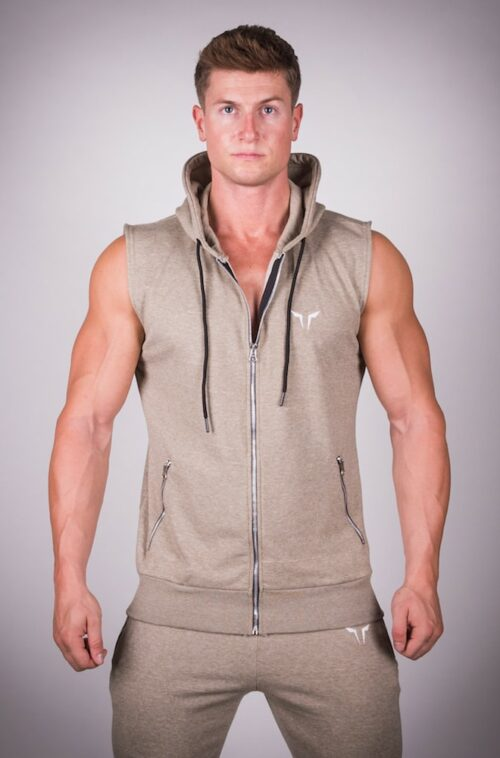Ribbed Sleeveless Hoodie Olive