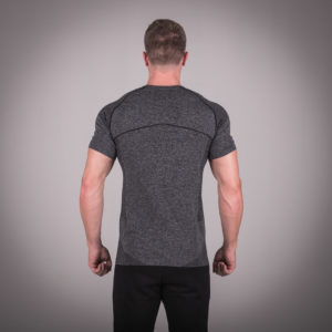Seamless Dry-Knit Tee - Melange Grey in Half Sleeves