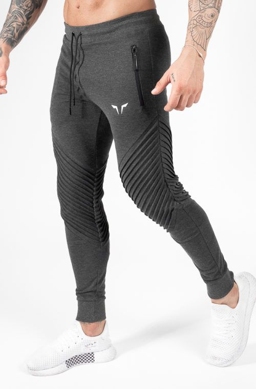 Statement Ribbed Joggers - Gray